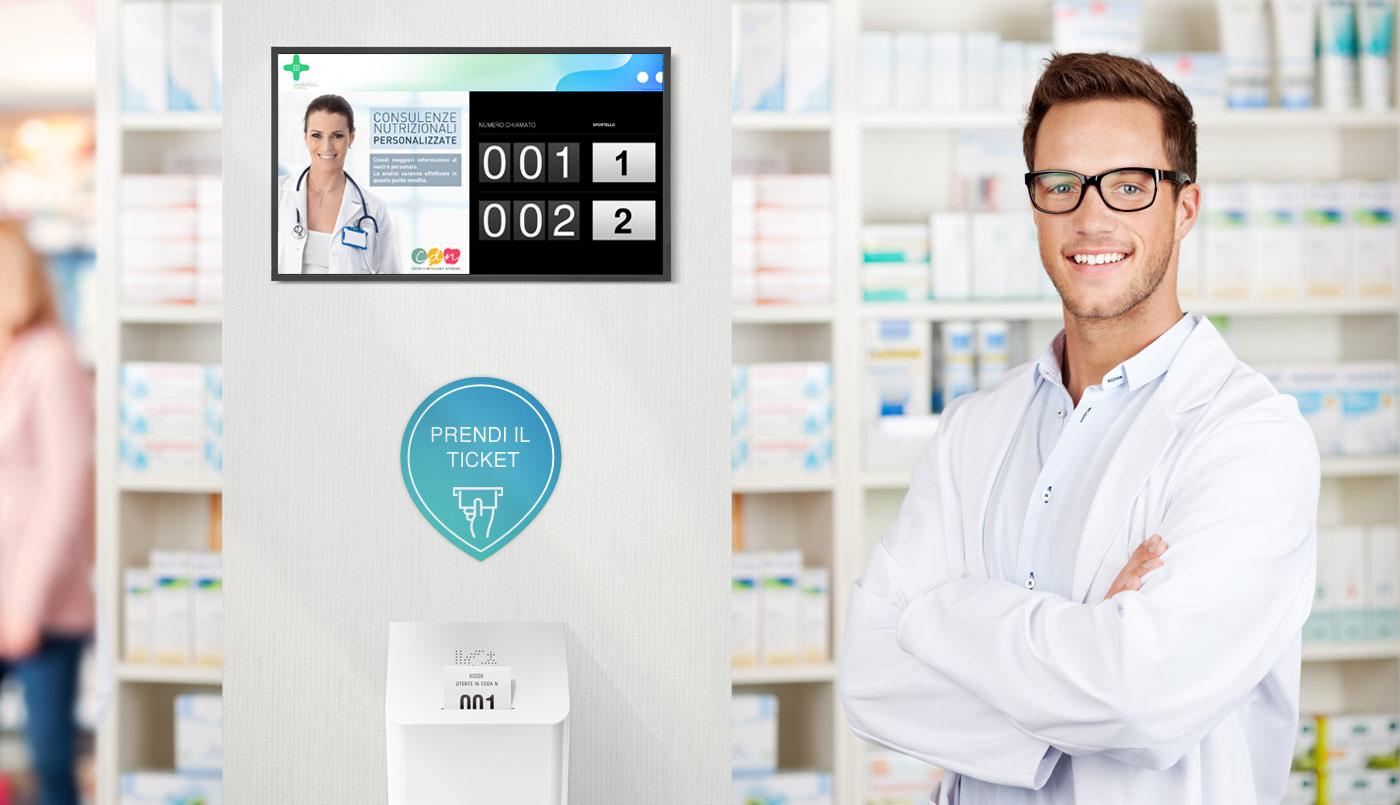eliminacode per farmacia ed emettitore di ticket Kiosk Qmicro e Wallber